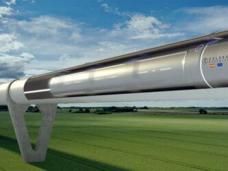 Artists impression of a hyperloop vehicle moving at speed through a cutaway tube above a country landscape