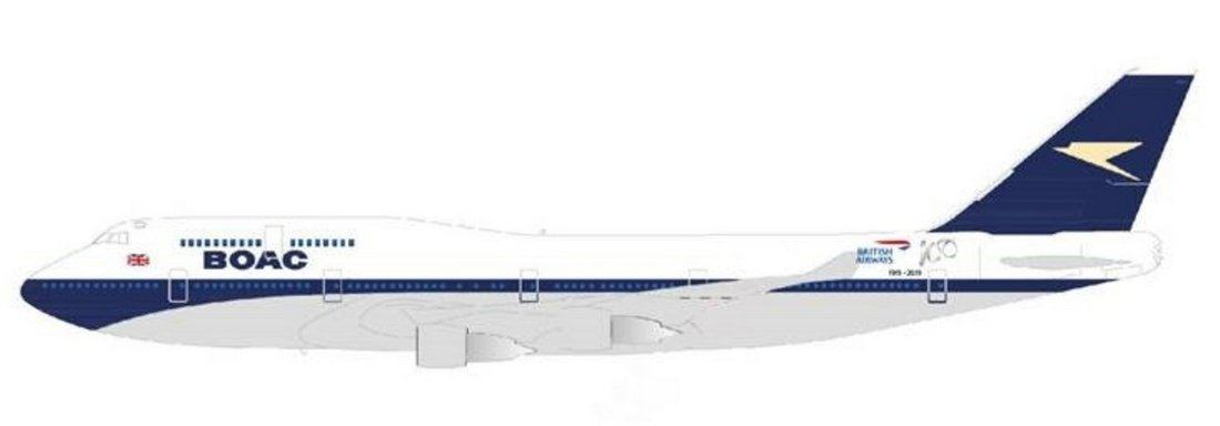 Design drawing of a B747 Jumbo in BOAC blue livery