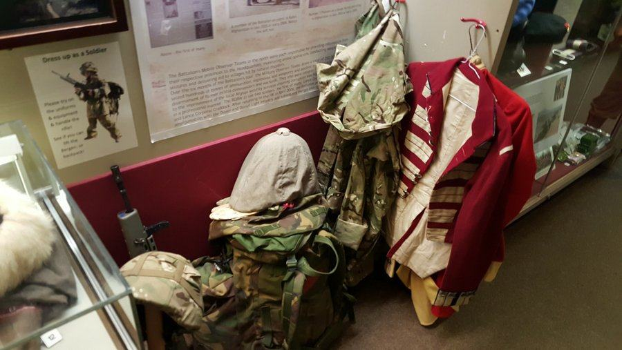 Uniforms for children to try out at the Rifles Berkshire and Wiltshire Museum, Salisbury