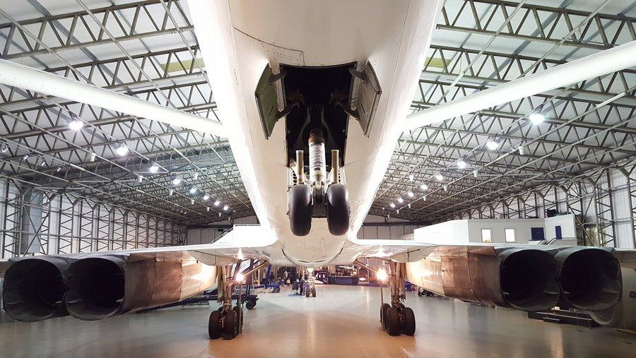 Concorde in hanger from rear