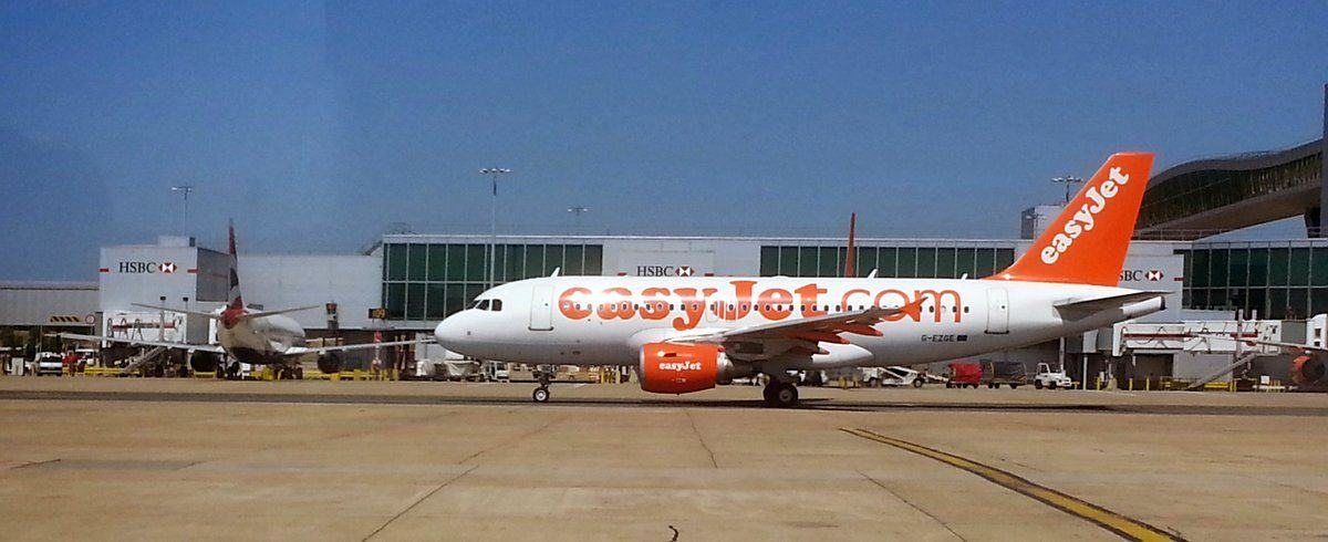 an easyJet airliner on the tarmac at Gatwick