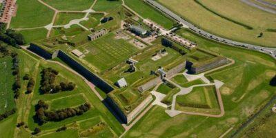 Aerial view of a classic Vauban designed 18th century star-shaped fortress