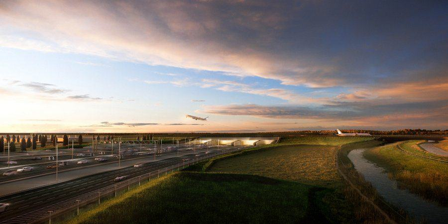 Artist rendering of the M25 tunnel entrance under the new runway, needed for the Heathrow Airport expansion, in evening light