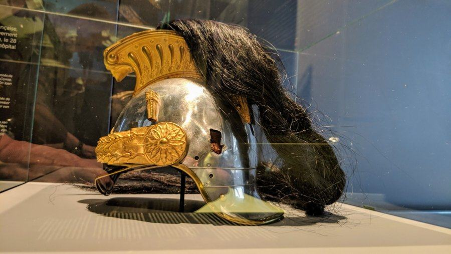 Splendid ornate gold and silver helmet with a fine plume of black horsehair of