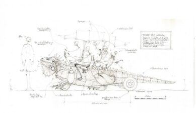 Pencil drawing of a wheeled lizard with passengers