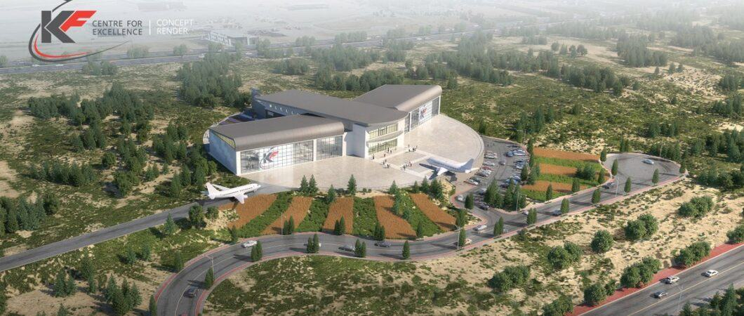 Architectural design rendition of the aircraft museum