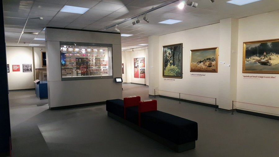 Paintings and medals on display in the REME Museum Memorial Room