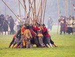 Civil War re-enactment pikemen gather together