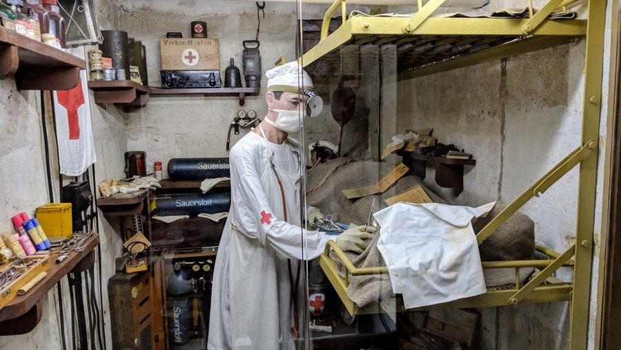 A medic working in the sick bay