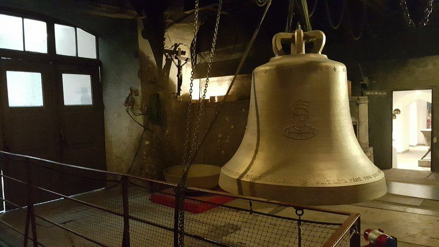 A bell hanging in the bell foundry